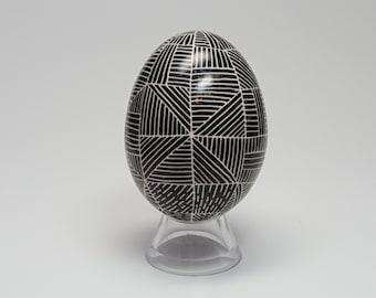"""Duck Egg, """"Zentangle"""" Inspired, Black and White."""
