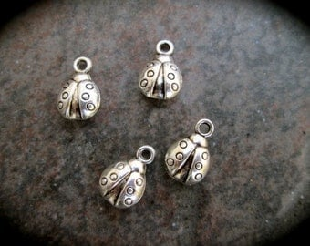 Ladybug charms antique silver finish set of 4 charms Summer charms Adjustable bangle charms