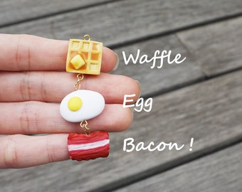 Waffle Egg Bacon Breakfast Set Charm