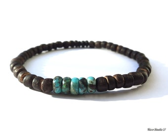 Dark Brown Coconut Blue Turquoise Bracelet