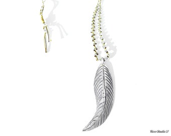 FEATHER NECKLACE / Silver Feather Braided Necklace