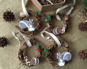 Ornaments/ squirrel ornaments/ squirrels/ Christmas ornaments/ rustic ornaments/ woodland ornaments/ handmade Christmas ornaments/ unique