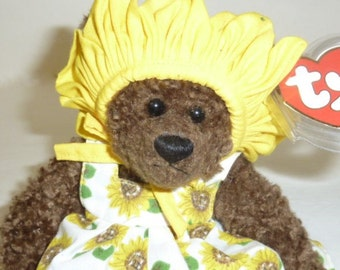 Vintage 1993 Original Ty Beanie Baby SUSANNAH Bear Sunflower Dress Yellow Hat Attic Treasures Stuffed Animal Plush Collectible Childrens Toy