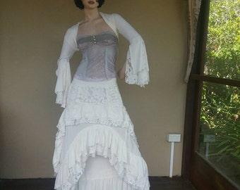 Long white wedding layered bustle lace steampunk skirt burlesque bohemian gypsy hippy