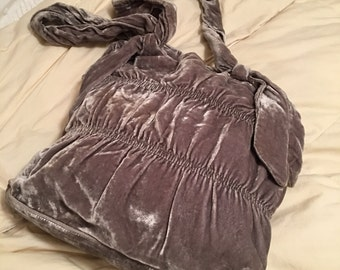 Vintage Tote or Handbag, High End Designer Brand J.Jill Soft Shimmery Gray Velour Carry All in Great Condition