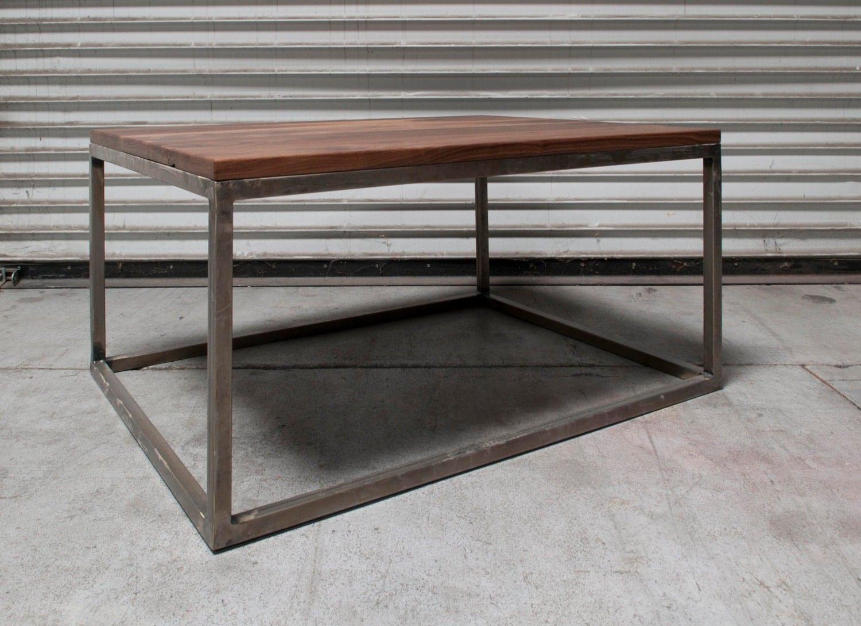 Square Metal Side Table W/ Rustic Walnut Wood Top Powder