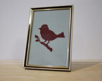 Dark Red Bird Cross Stitch in Vintage Gold Frame
