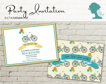 Digital Party Printable: Editable Party Invitation 5x7in Balloons & Bicycle INSTANT DOWNLOAD