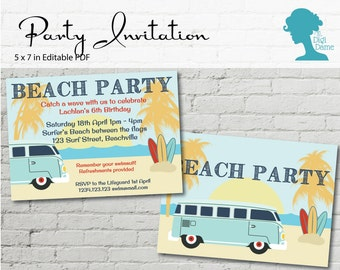 Digital Party Printable: Editable Party Invitation 5x7in Beach Party - with Combi Van and Surfboards INSTANT DOWNLOAD