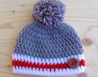 Baby pompom and button hook hat / toque pompom button crochet baby.