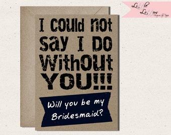 Friend Bridesmaid Card- Personalised-Bridesmaid Card- Best Friend -Wedding- Card -Inspirational-Fun-Personalized