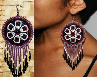 Native American Medallion Earrings, Huichol Earrings, Beaded Native Earrings, Tribal Earrings, Beaded Earrings, Leather Backing, Purple