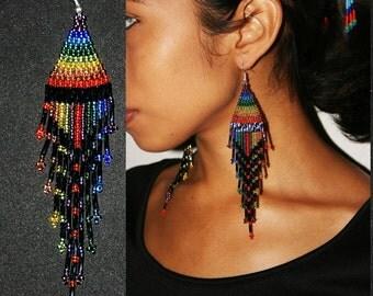 Sparkling Rainbow Earrings, Seed Bead Earrings, Dangling Gypsy Earrings, Native American Beaded Earrings, Huichol Bead Work, Tribal, Festive