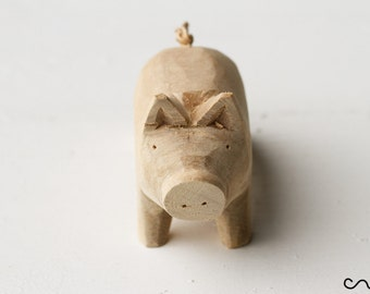 Hand-carved Handmade Lovely Wooden Pig Very Cute Animal Figure DIY Craft Gift