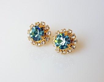 Blue Crystal Stud Earrings, Blue Crystal Earrings, Crystal Stud Earrings, Blue Earrings,Blue Stud Earrings, Stud Earrings, Crystal Earrings