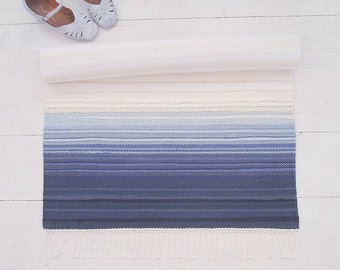 Rag rug, white and blue cotton rug, blue ombre rug, handmade, reversible, woven on the loom, made to order