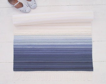 Rag Rug, White and Blue Cotton Rug, Blue Ombre Rug, Wedding Rug, Handmade, Reversible, Woven on the Loom, Made to Order