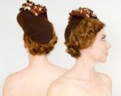 30s 40s Brown Tilt Hat | Wool Felt Sequin Hat | Brown Fascinator | Brookhollow Mode