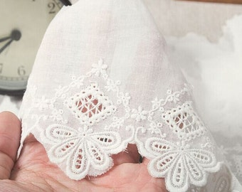 Cotton Lace Fabric in White, Retro Hollowed Flower Lace Embroidery Fabric Lace,Weddings Lace,3.94 inches wide 1 yards ,MS118