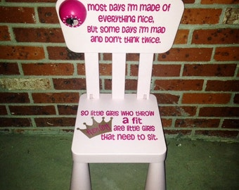 Time Out Chair Vinyl Decal Toddler Naughty Chair Sticker