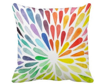 "Colorful Watercolor Throw Pillow, Boho Rainbow Art Print 16 or 20"" INDOOR or OUTDOOR Pillows"