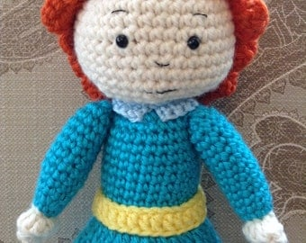 "Rosie 12"" handmade crochet  doll. Rosie inspired by Caillou TV show. Crochet doll."