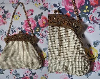 Vintage 20s White Beaded Handbag Edwardian Purse Victorian Mini Bag Roaring 20s Clutch Art Deco Flapper Purse 20s Prom Clutch Evening Purse