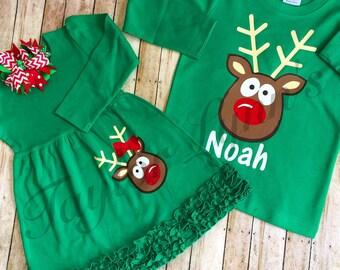 Sibling Christmas set, brother sister christmas set, sibling Christmas outfit, twins Christmas set