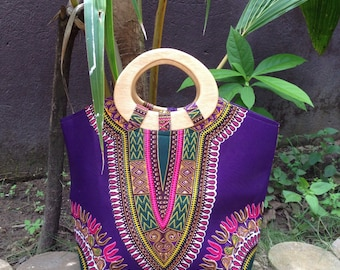 African Wax Handbag with wooden handle 'Dashiki Purple'