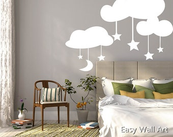 Charming Clouds Wall Decal, Clouds Moon Stars Wall Decal For Bedroom, Office U0026  Clouds Wall