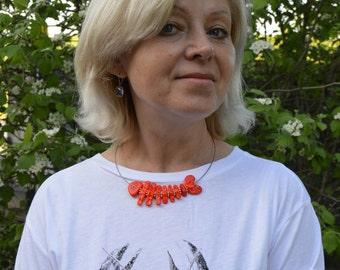 Lampwork necklace Orange Fish made by MuranoGlassAnastasia