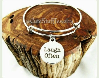 Laugh Often Bracelet, Laugh Often Bangle, Handmade Inspirational Jewelry, Laugh Often Jewelry, Laugh Jewelry, Laugh Bracelet, Laugh out loud