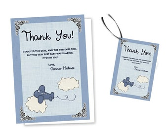 Vintage Airplane Thank You Cards - Blue Airplane Baby Shower - Aviation Thank You Cards - Airplane Party Favor Tags - Zoom Thank You Tags