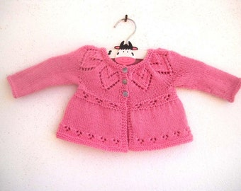Lottie Cardi - Knitting Pattern - Baby girl to age 6 cardigan - Instant Download PDF