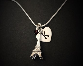 Hand Stamped Eiffel Tower Necklace with Initial and Birthstone charm, Personalized Eiffel Tower Necklace, Eiffel Tower Necklace