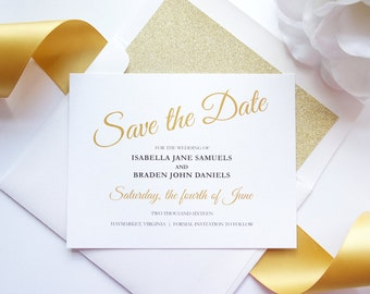 Save the Date, Save the Dates, Elegant Save the Dates, Gold Wedding Save the Date, Gold Save the Dates - DEPOSIT
