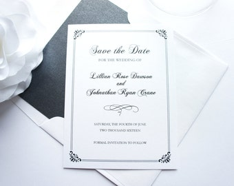 Traditional Save the Date Card, Elegant Save the Dates, Formal Save the Date, Classic Save the Date - DEPOSIT
