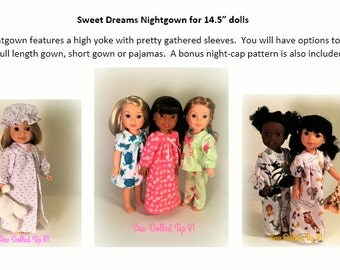 Sweet Dreams Nightgown and Pajama Pattern for 14.5 inch dolls