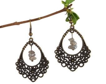 Labradorite jewelry, flower filigree jewelry, vintage victorian jewelry, bronze chandelier earrings, filigree drop earrings labradorite fael