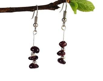 Boho bohemian earrings, red garnet jewelry, healing crystal earrings, boho bohemian jewelry, natural garnet earring, red crystal jewelry vyc
