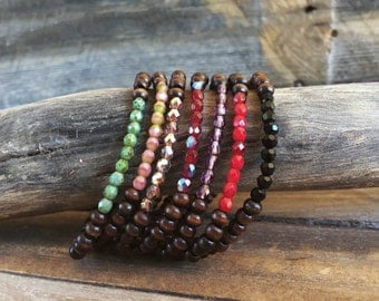 Beaded bracelet - wood bracelet - stacking bracelet - wood beaded bracelet - stacking bracelet - boho bracelet - summer bracelet