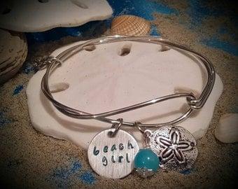 Beach Bracelet, Beach Girl, Vacation Bracelet, Sand dollar  Charm Bracelet