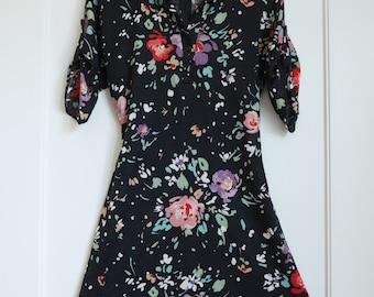 1970s floral shirt dress
