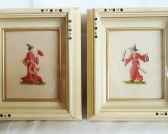 Embroidered Petit Point 1950 Wood Framed Shadow Box Pair Oriental Asian Man and Woman Traditional Red Clothes Signed