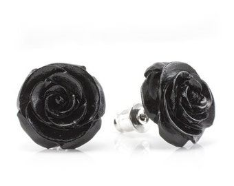 "Hand Carved - ""Rosebud"" - Rose Wood Stud Earring - Urban Flowers"