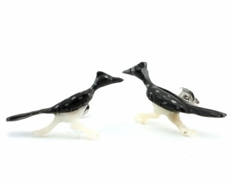 "Hand Carved - ""Road Runner"" - Horn with Bone Inlay Stud Earring - Desert Life"