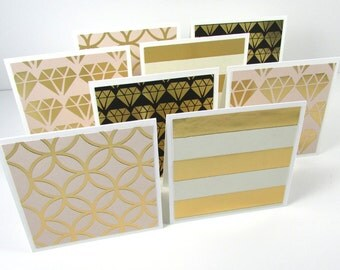 Mini Note Cards, Set of 8, Gold Foil Note Cards, Stationery, Handmade, Blank Cards