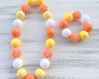 Candy Corn Bubblegum Necklace, Candy Corn Chunky Necklace, Halloween Necklace, Orange and Yellow Bubblegum Necklace, Candy Corn Bracelet