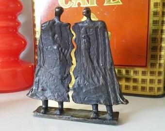 Vintage brass metal statue lovers