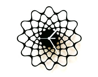 Embroidery black - contemporary modern wall clock made of wood, wooden clock, wood wall art